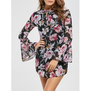 Bell Sleeve Floral Print Chiffon Mini Dress