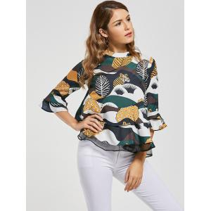 Printed Bell Sleeve Peplum Blouse - COLORMIX M