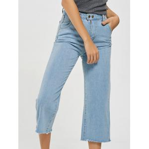 Light Wash Frayed Hem Cropped Jeans - Light Blue - Xl