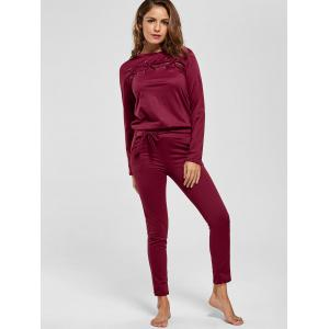 Cut Out Lattice Two Piece Casual Suit - WINE RED XL