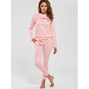 Cut Out Lattice Two Piece Casual Suit - PINK XL