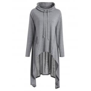 Longline Slash Pockets Dovetail Hoodie - GRAY M