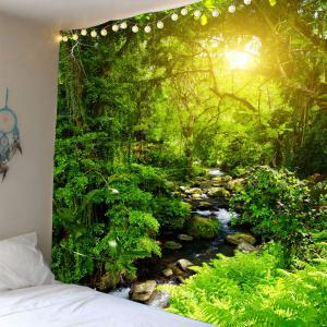 Forest Stream Sunlight Waterproof Wall Art Tapestry