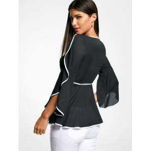 V Neck Contrast Pinping Chiffon Top - BLACK XL
