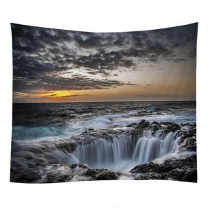 Ocean Hole Print Tapestry Wall Hanging Art Décoration - Gris