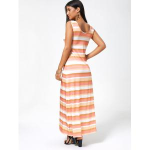 Striped Sleeveless Long Casual Maxi Tank Dress -
