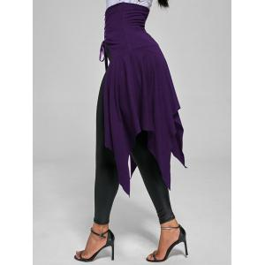 High Waist Front Slit Lace Up Asymmetrical Skirt - DEEP PURPLE 2XL