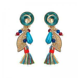 Vintage Tassel Leaf Drop Earrings