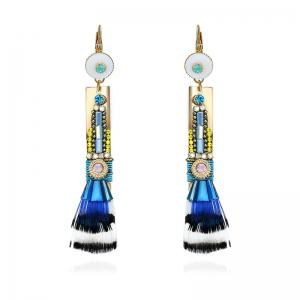 Faux Crystal Statement Feather Drop Earrings - Blue