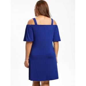 Robe Grande Taille Manches 1/2 Épaules Nues - Bleu 5XL