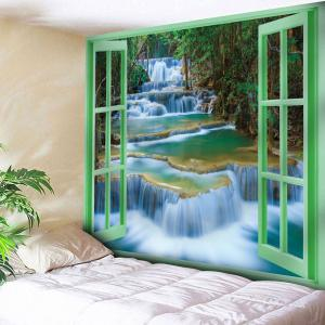 Window Scenery Printed Wall Hanging Tapestry - Olive Green - W91 Inch * L71 Inch