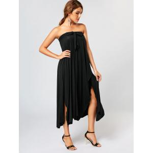 Bowknot Lace Up Asymmetrical Maxi Skirt - BLACK S