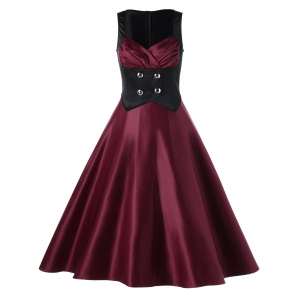 Sweetheart Neck Color Block Vintage Skater Dress