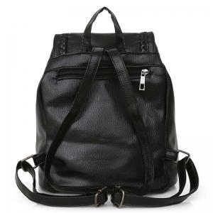 Tassel Braided Backpack Set - BLACK