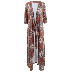 Boho Long Kimono Low Cut Maxi Wrap Dress -