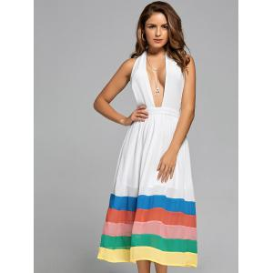 Halter Color Block Chiffon A Line Dress -