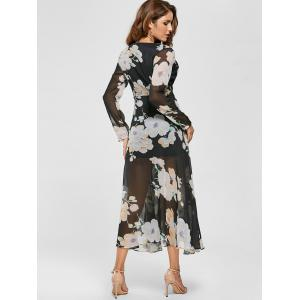Sheer Slit Floral Maxi Long Sleeve Chiffon Dress -