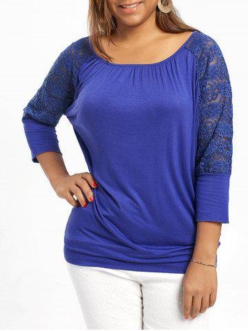 Affordable Plus Size Raglan Sleeve Lace Trim Top