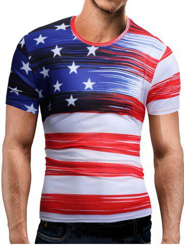 Cheap Short Sleeve American Flag Print Tee WHITE 3XL