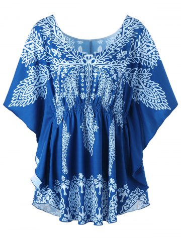 Hot Plus Size Print Butterfly Sleeve Top