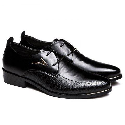 Faux Leather Pointed Toe Formal Shoes BLACK