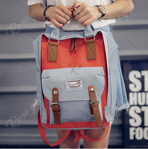 New Color Blocking Canvas Backpack - GRAY  Mobile