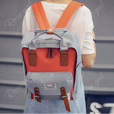 Latest Color Blocking Canvas Backpack - GRAY  Mobile