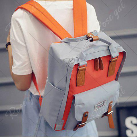 Affordable Color Blocking Canvas Backpack - GRAY  Mobile