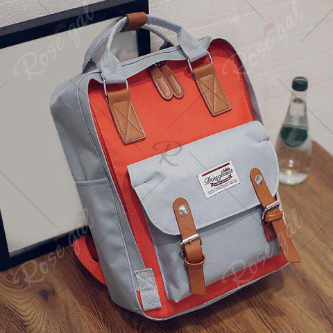 Buy Color Blocking Canvas Backpack - GRAY  Mobile