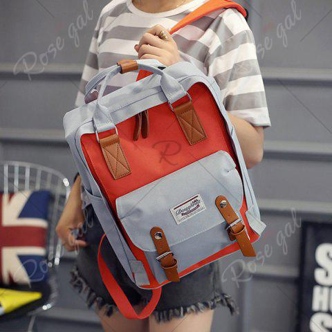 Fashion Color Blocking Canvas Backpack - GRAY  Mobile