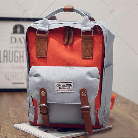 Trendy Color Blocking Canvas Backpack - GRAY  Mobile