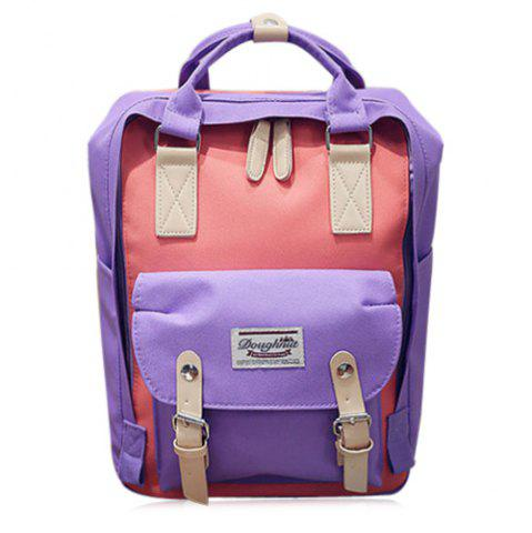 Fashion Color Blocking Canvas Backpack PURPLE