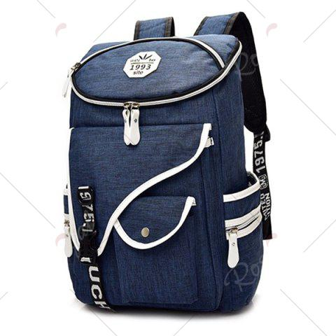New Casual Padded Strap Nylon Backpack - DEEP BLUE  Mobile
