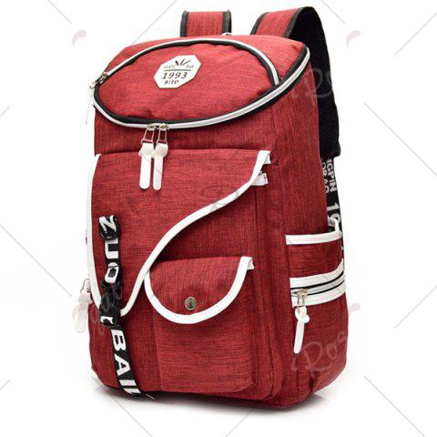 Trendy Casual Padded Strap Nylon Backpack - RED  Mobile