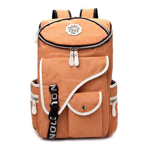 Trendy Casual Padded Strap Nylon Backpack - ORANGE  Mobile