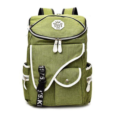 Hot Casual Padded Strap Nylon Backpack - GREEN  Mobile