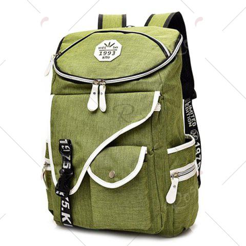 Chic Casual Padded Strap Nylon Backpack - GREEN  Mobile
