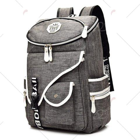 Affordable Casual Padded Strap Nylon Backpack - GRAY  Mobile