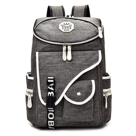 Latest Casual Padded Strap Nylon Backpack - GRAY  Mobile