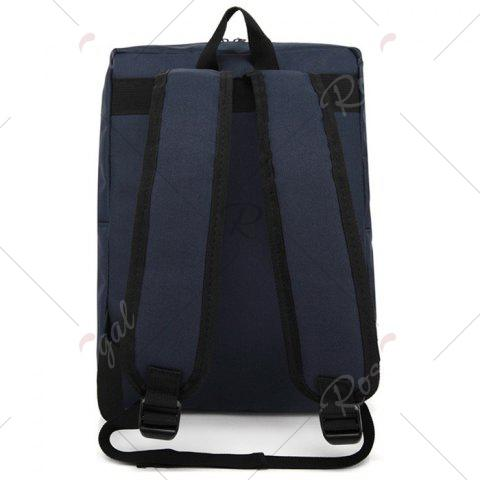 Hot Padded Strap Nylon Backpack - DEEP BLUE  Mobile