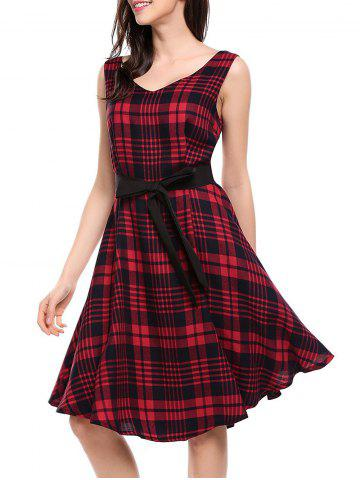 V Neck Plaid Swing Dress - Wine Red - L