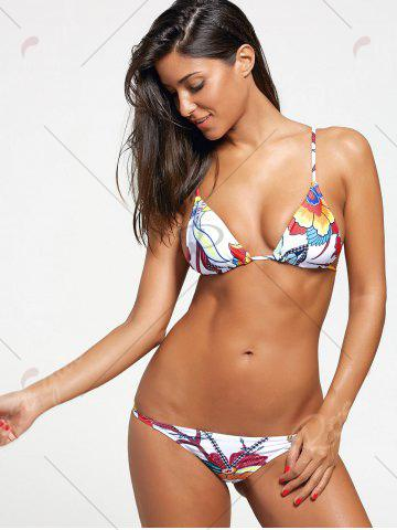 Outfit Handpainted Flower Print Skimpy Bikini Set - S COLORMIX Mobile