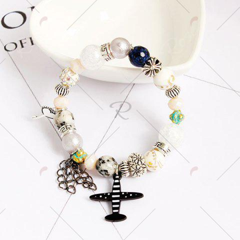Buy Airplane Key Heart Charm Beaded Bracelet - COLORMIX  Mobile