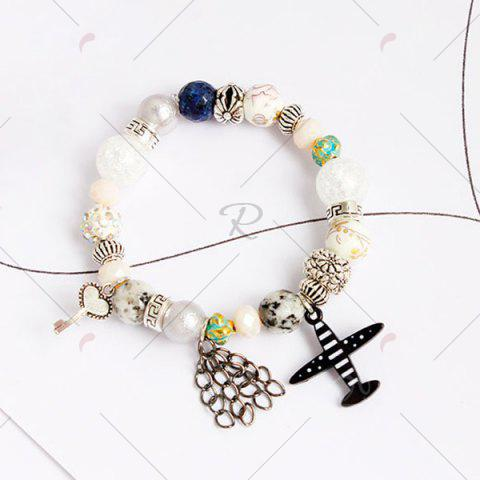 Outfit Airplane Key Heart Charm Beaded Bracelet - COLORMIX  Mobile