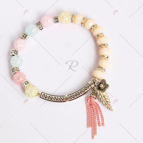 Outfit Metal Leaf Flower Charm Beaded Bracelet - COLORMIX  Mobile