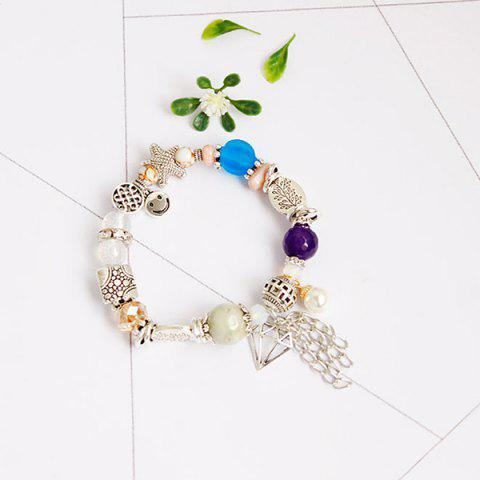 Chic Starfish Fringed Smile Charm Beaded Bracelet - SILVER  Mobile