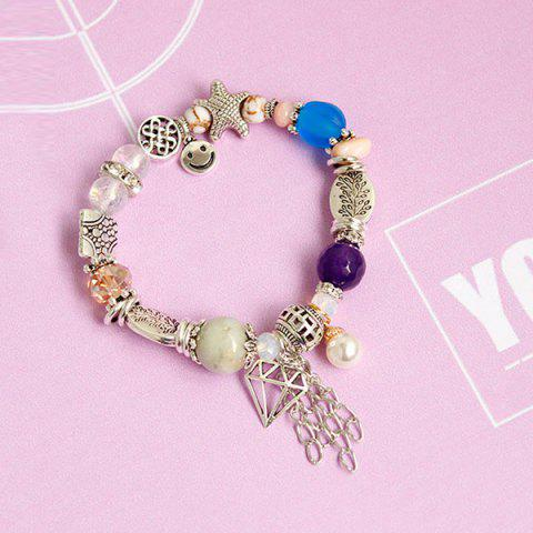 Discount Starfish Fringed Smile Charm Beaded Bracelet - SILVER  Mobile