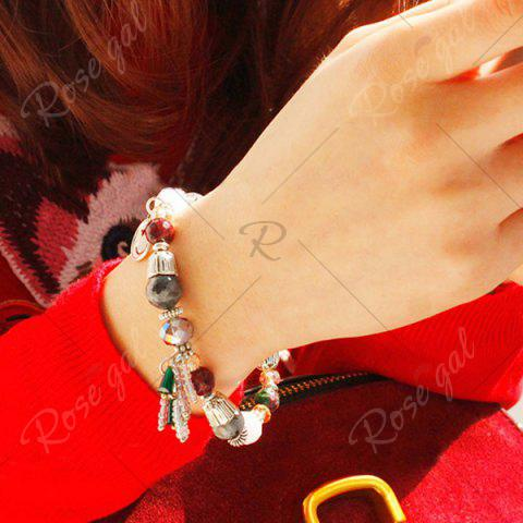Discount Artificial Crystal Smile Charm Beaded Bracelet - COLORMIX  Mobile