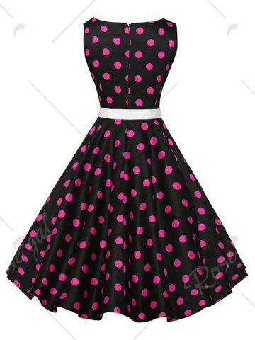 Outfit Sleeveless Polka Dot Vintage Dress with Belt - XL PLUM Mobile