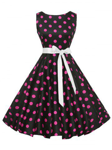 Fashion Sleeveless Polka Dot Vintage Dress with Belt - XL PLUM Mobile